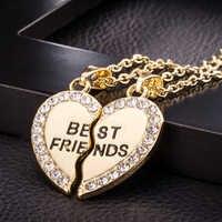 Lovely 2pcs Per Set Couple Heart Pendant Necklace Rhinestone Best Friends Engraved Pendant Friendship Necklace For Women Girls