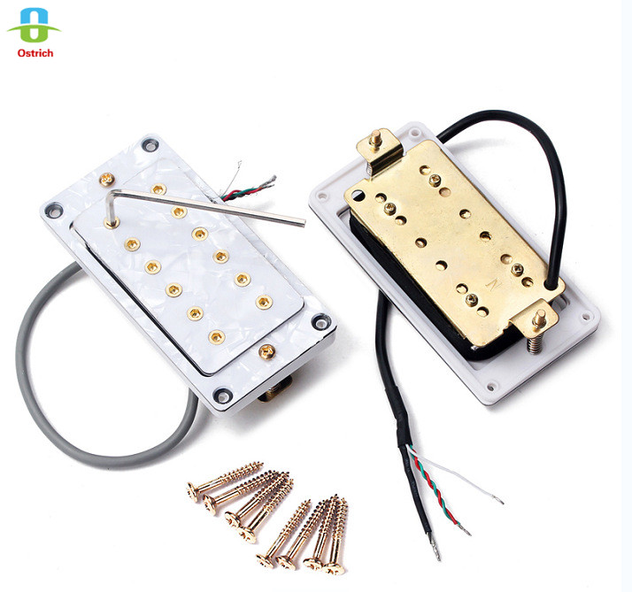 White Pearl Ceramic Magnet Doubel Coil Humbuckers Pickups for Electric Guitar Bass Pack of 2 yibuy ceramic vintage single coil guitar pickup set ceramic magnet black shell