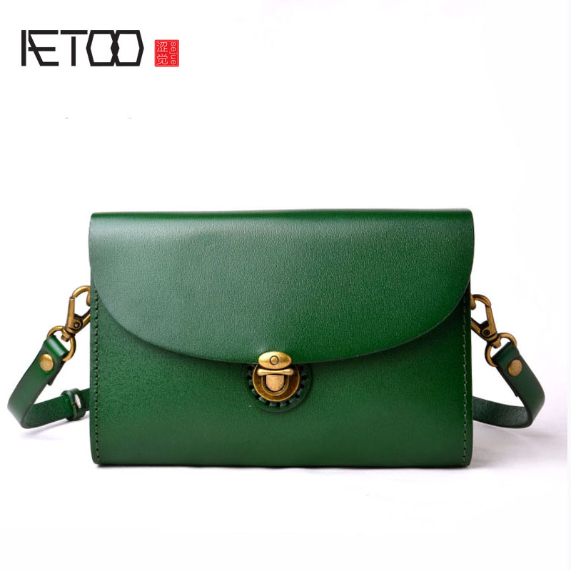 AETOO The original first layer of leather tanned leather mini ladies leather art simple Messenger bag small square package aetoo original leather handbags 2016 new shoulder diagonal cross small bag ladies simple first layer of leather soft leather mes