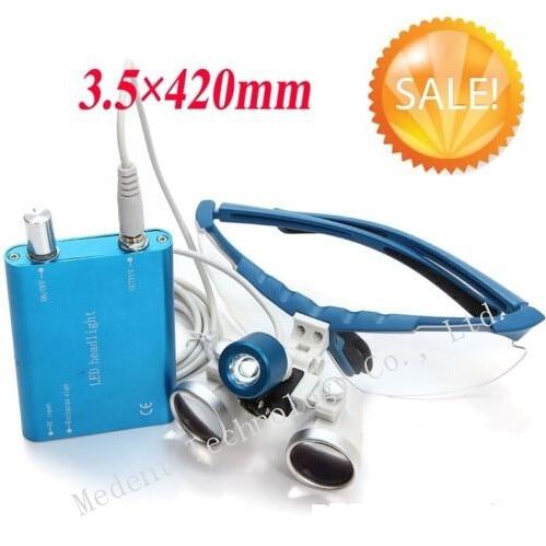 Фотография 100% High Quality For Dentists!!! DentaL Loupe LED headlight lamp and Dentist Dental Loupes binocular 3.5x420mm