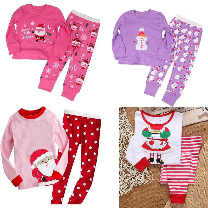 Baby Girls Pajamas Suits Christmas Costumes 100% Cotton Children T-Shirt Trouser Sleepwear Boys Nightdress Santa Snow X'mas Tops