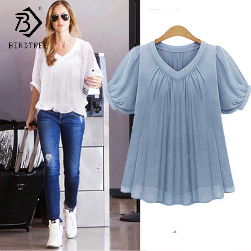 Women Shirt Blouse Big Large Size Plus Size 5XL 2017 Summer Casual Women Blouses Short Sleeves Pleat Chiffon Female Tops T7N010A
