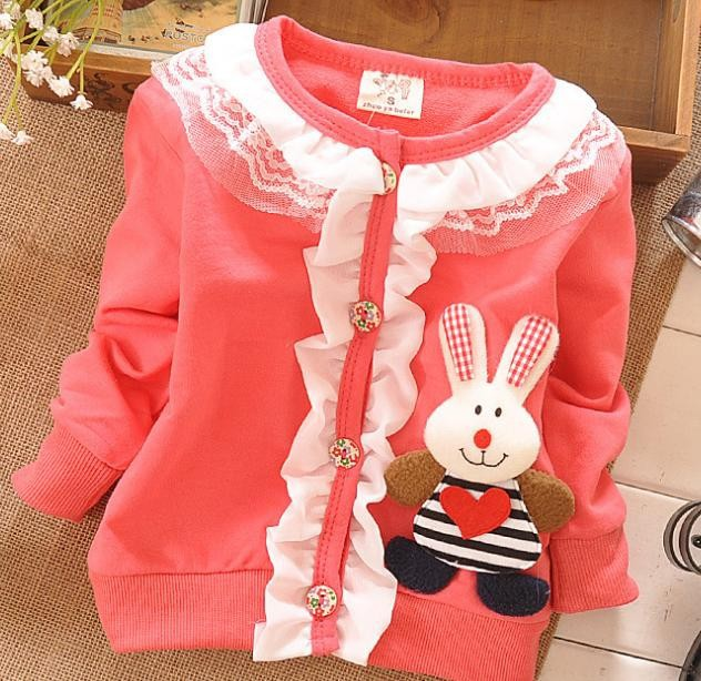 (1piece /lot) 100% cotton 2015 cute Three-dimensional rabbit baby outerwear