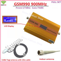 LCD Display 2G GSM 900MHz Repeater Gain 70db Repetidor Celular CellPhone Signal Booster Amplifier + Antenna Full Set