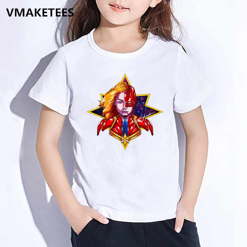Дети Марвел Капитан мультфильм футболка с принтом Детские супер герой Забавный Одежда для девочек и мальчиков летняя белая детская футболка, HKP5232
