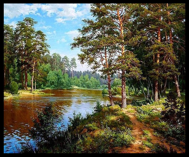 2017 Needlework DIY DMC 14CT Cross stitch Kit Pine along the River Pattern Embroidery Cross stitch