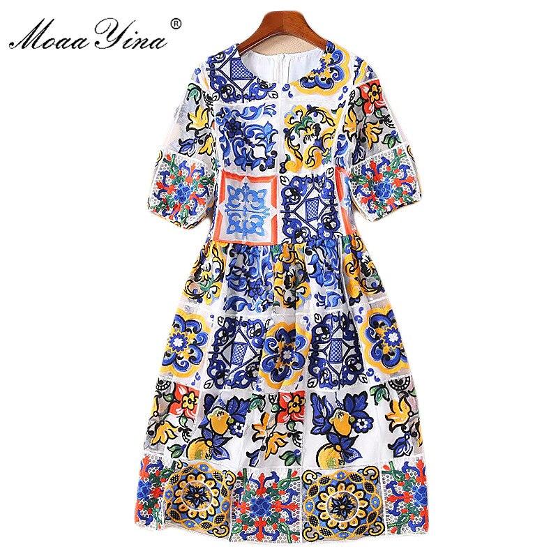 MoaaYina mode Designer robe de piste printemps été femmes lanterne manches bleu fleurs maille broderie fête robe de soirée-in Robes from Mode Femme et Accessoires    1
