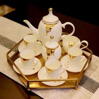 11 pcs Fashion american home ceramics coffee set d'Angleterre tea set household pallet decoration elegant coffee set gold design