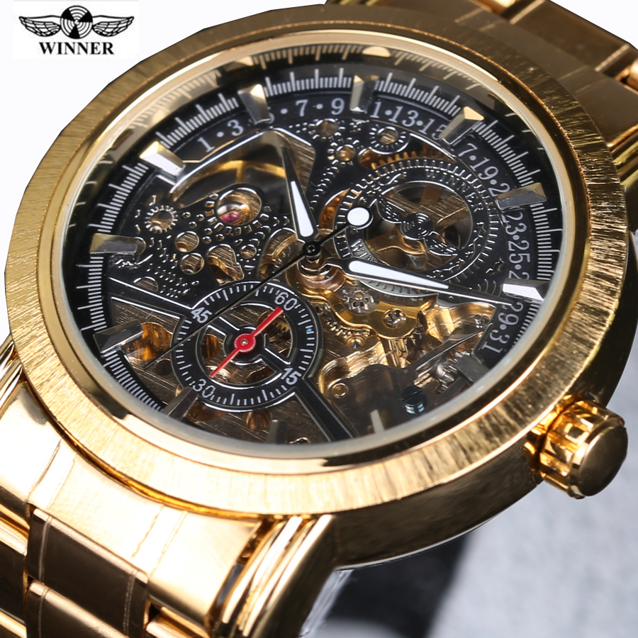 Winner Royal Carving Series Golden Luxury Stainless Steel Skeleton Male Wrist Watch Men Watches Top Brand Luxury Automatic Watch read the royal knight men watch series fully automatic machinery male watches r8019g