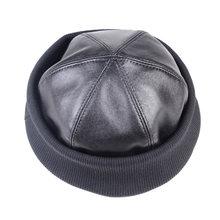 Boné redondo de couro real feminino gorro zucchetto toque gorro novo boné exército/marinha bonés/chapéus
