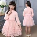 Мода кружева вязание платье принцессы для девочки одежда дети вечерние платья для девочек-подростков с длинным рукавом платья одежда 2016