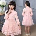Moda rendas tricô vestido de princesa para a menina roupa dos miúdos vestidos para meninas adolescentes vestidos de roupas de manga longa 2016
