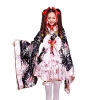 Curto anime cosplay quimono japonês mulher criança sexy gothic lolita traje vermelho trajes de halloween para as mulheres se vestem plus size