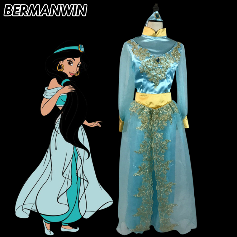BERMANWIN High Quality Aladdin and the magic lamp Princess Jasmine Cosplay Costume Halloween Sky blue Adult Women Ball Gowns
