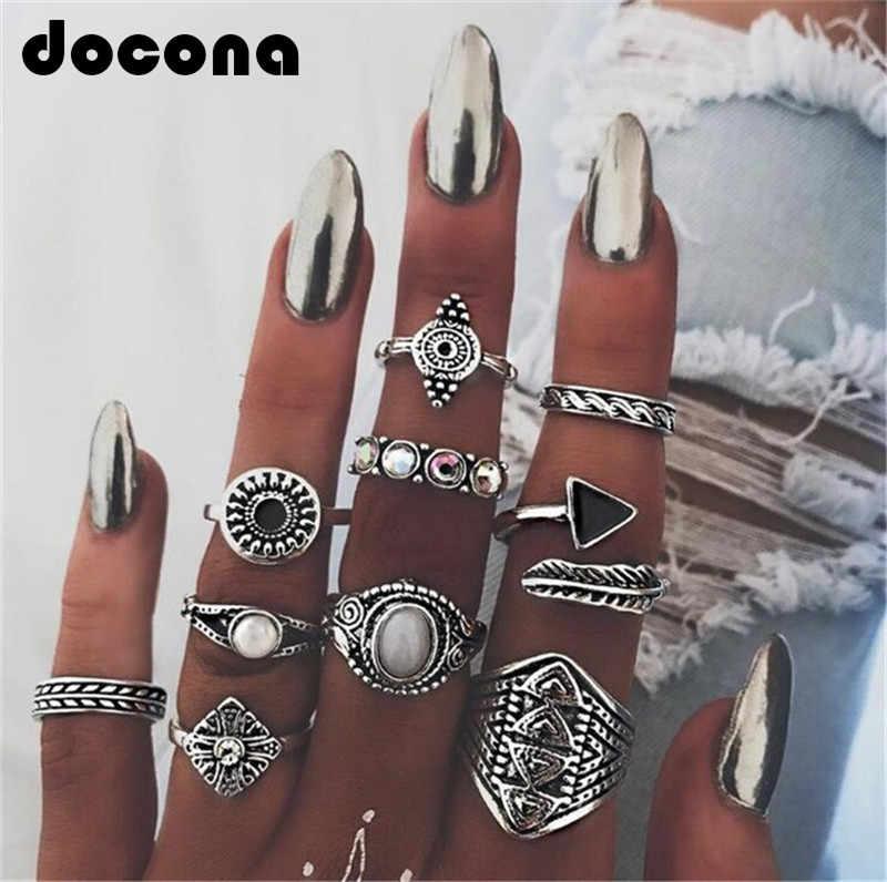Docona Leaf หิน MIDI ชุดแหวนคริสตัลโอปอล Knuckle แหวน Anillos Mujer เครื่องประดับ 10 ชิ้น/ล็อต 4846