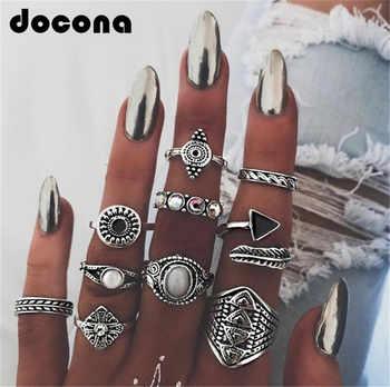 Docona hoja de piedra anillo conjuntos Vintage Cristal de ópalo nudillo Anillos para las mujeres Anillos Mujer joyería 10 unids/lote 4846
