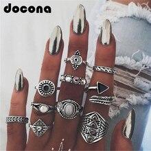 Juegos de anillo de piedra MIDI de hojas docona, Anillos de ópalo de cristal Vintage para nudillos de Mujer, joyería de Mujer 10 unids/lote 4846