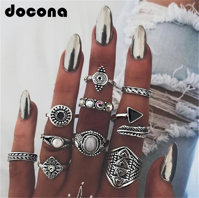 docona Leaf Stone Midi Ring Sets Vintage Crystal Opal Knuckle Rings for Women An
