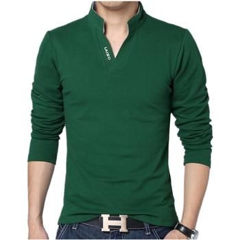 2018 hommes mode Boutique coton loisirs col montant à manches longues polos hommes couleur Pure col en v POLO chemise grande taille S-5XL