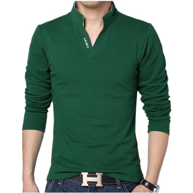 2018 Men Fashion Boutique Cotton Leisure Stand Collar Long Sleeve POLO  Shirts Mens Pure Color V-neck POLO Shirt Big Size S-5XL e596e646682b