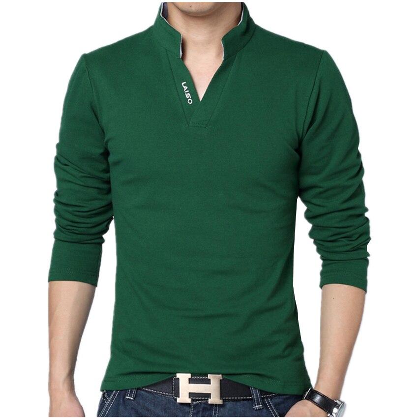 Boutique de Moda Polo dos Cor Pura com Decote em v 2018 Homens de Lazer  Algodão Gola Manga Comprida Camisas Camisa Tamanho Grande S-5xl 1a9ba5b3dd69c