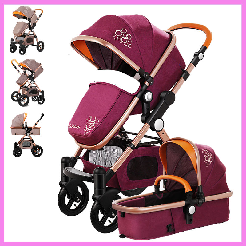 High View Luxury Infant Baby Stroller 2 In 1 Reverse Handle Folding Travel System with Car Seat Cradle Sleeping Basket Pram 0~3 infant baby electric rocking chair thicken steel frame high load bearing baby cradle prevent baby spitting milk