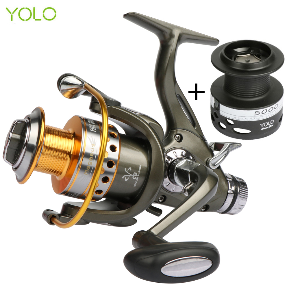 YOLO Double Brake System Spinning Fishing Reel 5.2:1 10BB Carp Feeder Fishing Wheel Size 3000 4000 5000 6000 Max Drag 20kg seaknight spinning reel cm ii 2000 3000 4000 5000 max drag 13kg 9 1bb 5 5 1 carbon drag spinning fishing reel for carp fishing