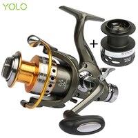YOLO Double Brake System Spinning Fishing Reel 5.2:1 10BB Carp Feeder Fishing Wheel Size 3000 4000 5000 6000 Max Drag 20kg