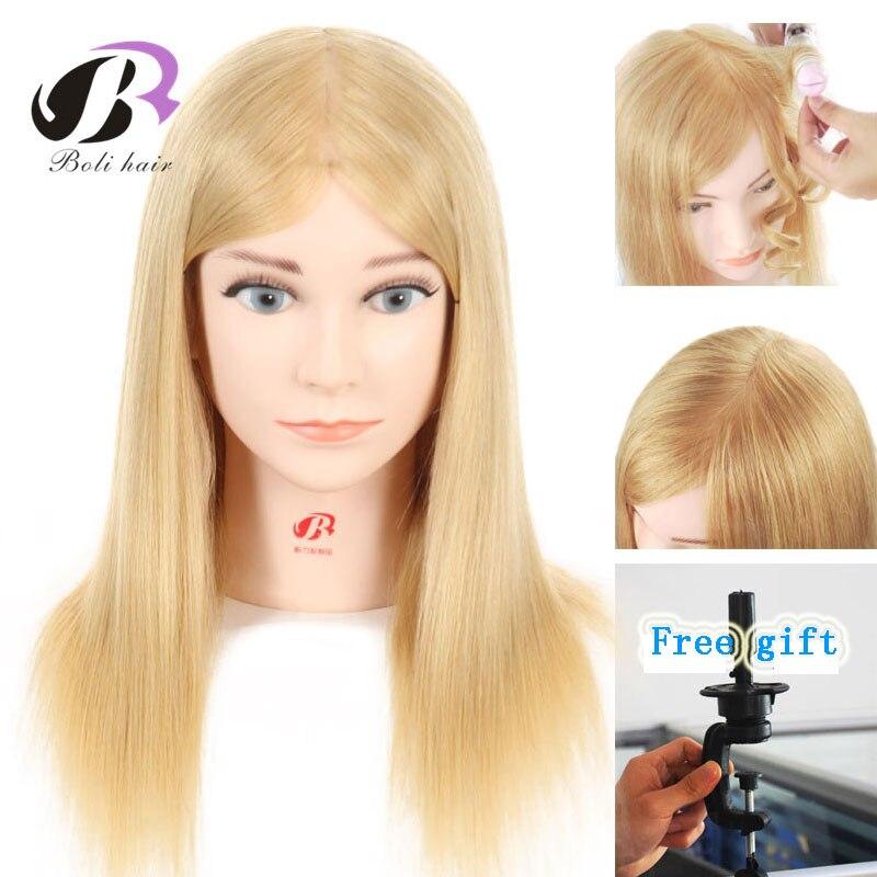 Bolihair Têtes De Poupées Mannequin Tête Avec cheveux humains blonds tête d'entraînement pour Coiffeur De Coiffure tête de Mannequin comme Filles Cadeau