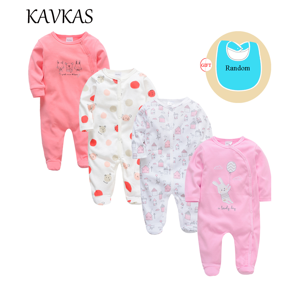 2019 Kavkas 4 pcs/lot Baby Clothes Cartoon Baby   Romper   Long Sleeve Winter Cotton roupa de bebes Newborn Boys Girls Clothing
