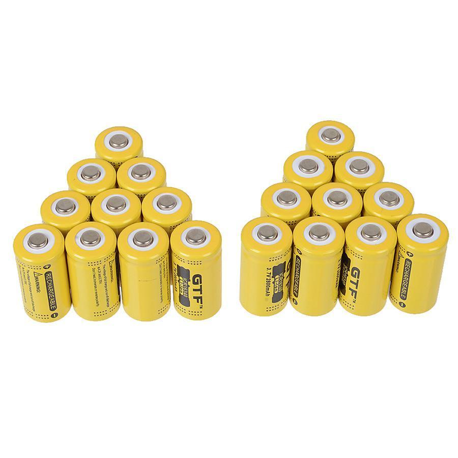 GTF 16340 Li ion Rechargeable Battery 3 7V 2800mAh Flashlight Torch Battery bateria lithium battery Drop Shipping in Rechargeable Batteries from Consumer Electronics
