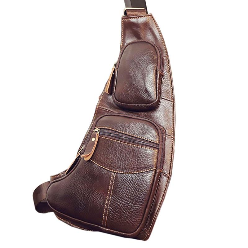 Högkvalitativa män Äkta läderkofta Vintage Sling Bröstback Dag - Handväskor - Foto 2
