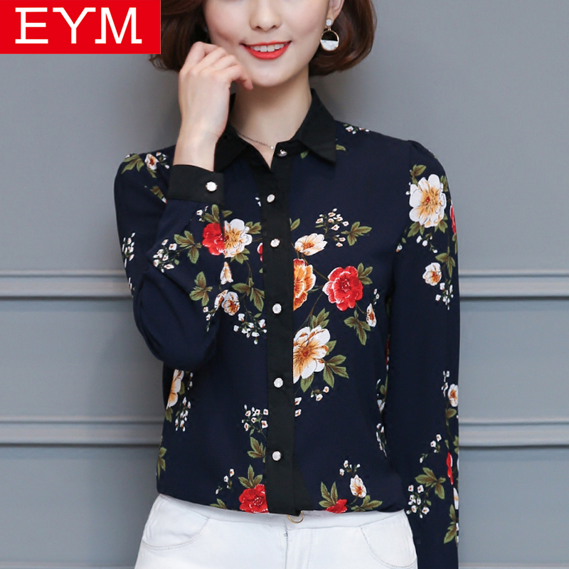 EYM Brand Fashion Floral Chiffon Blouse Shirt Women 2018 Spring New Womens Casual Long Sleeve Print Shirt Plus Size Tops Blusas