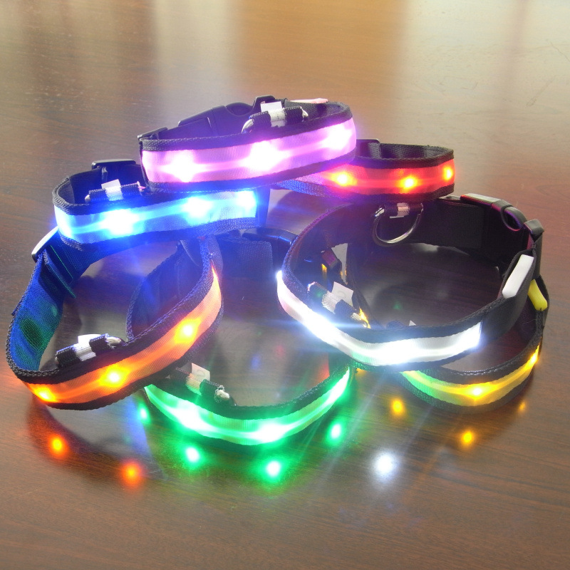 Nylon Pet LED Dog Collar Light Night Safety Anti-lost Flashing Glow Collars Dog Supplies 7 colors S ~ XL Size for Small dogs Cat