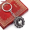 2016 New Fairy Tail Necklace & Pendant Rotatable Logo Metal Keychain Cosplay Anime Figure Round Enamel Pendant Accessories Gifts