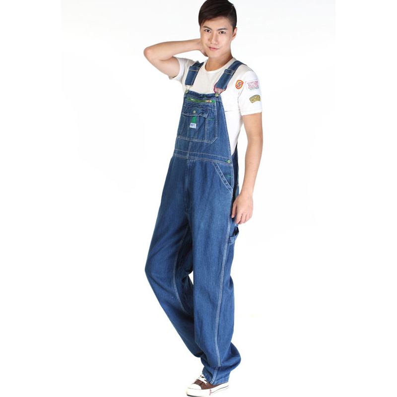 Image 2 - Sokotoo Men's casual loose green zipper bib overalls Male plus large size denim jumpsuits Huge pants Free shipping-in Jeans from Men's Clothing