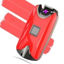 จัดส่งฟรีแฟชั่นใหม่ลายนิ้วมือแบบชาร์จลมชีพจรไฟฟ้าคู่Arc USBไฟแช็ก