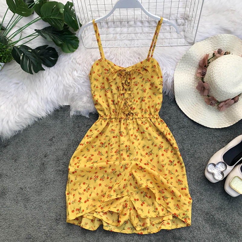 Nicemix Women 2019 Summer Spaghetti Strap Print Flower Backless Tunic  Lace Up Sexy V Neck Beach Dresses Women Holiday Vestidos