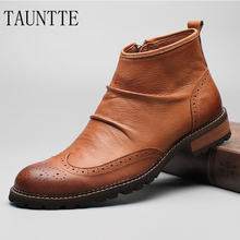 Tauntte Winter Cow Leather Dress Boots Fashion Non-Slip Men Ankle Boots Bullock Carving Flower Martin Boots