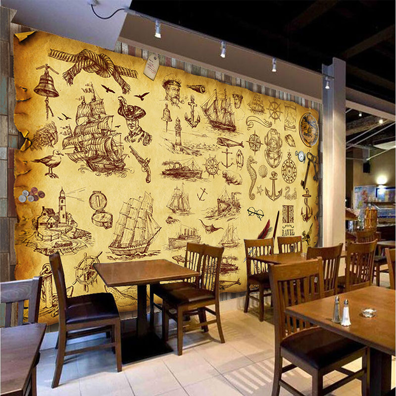 Custom retro nostalgia graffiti murals wallpaper coffee for Cafe mural wallpaper