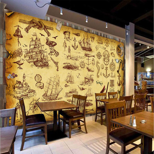 Custom retro nostalgia graffiti murals wallpaper coffee for Cafe wall mural
