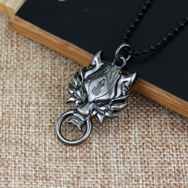 Game of Thrones Lion Head Black Beads Chain Jewelry Pendant Necklace