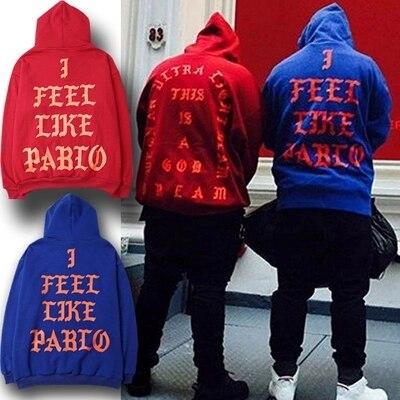 Kanye West Pablo Mi SENTO COME Ye Mens Hoodie Hip Hop Tuta Felpe Tirare Mi Sento Come Paul Con Cappuccio Da Uomo donne