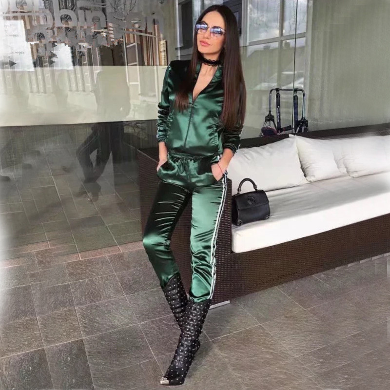 BOOFEENAA Fall 19 Casaul Tracksuit Women 2 Piece Set Top And Pants Satin Striped Patchwork Zipper Sexy Sweatshirt Sweat Suit 4