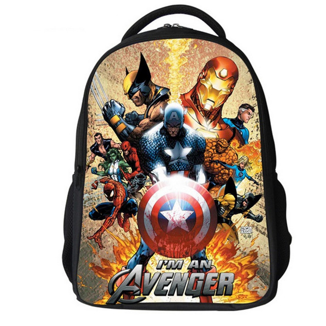 3D Marvel s The Avengers Cartoon Captain America Children Backpacks Boys  Schoolbag Iron Man bags Printing School Backpack a97d19ddb42e9