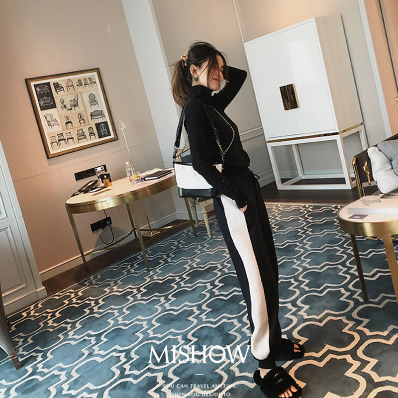MISHOW   wide     leg     pants   for women autumn winter 2019 streetwear causal elastic waist loose black   pants   MX18D2561