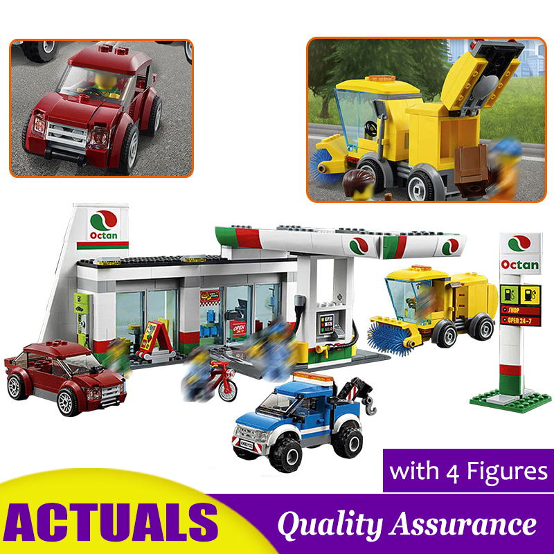 Gas Station 02047 Compatible 60132 City Town Building Blocks Vehicles Wash Service Station Bricks Kids Education