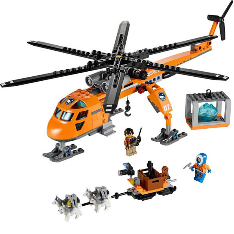 273pcs City Arctic Helicrane Helicopter Building Blocks Toys Compatible With Bricks For Children 10439 city series helicopter surveillance building blocks policeman models toys children boy gifts compatible with legoeinglys 26017