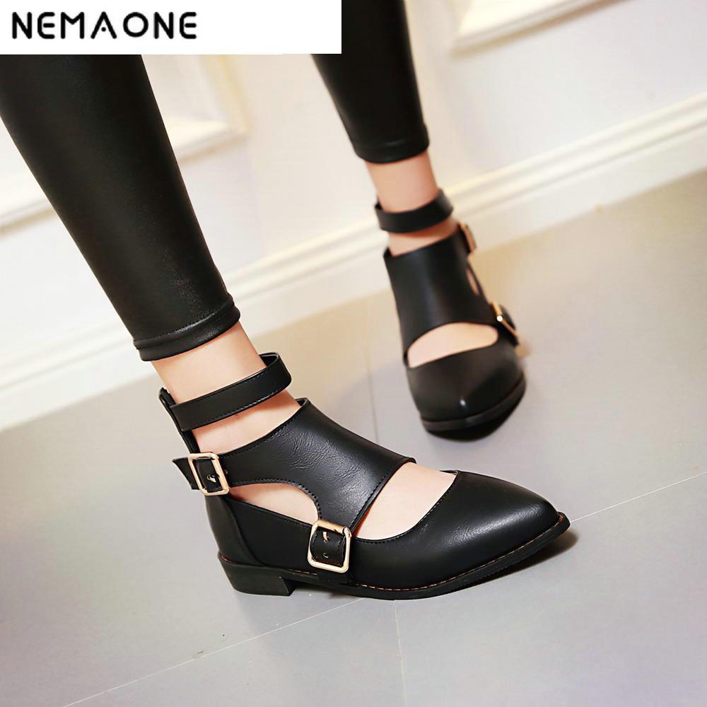 אופנה חדשה דירות נשים הבוהן מחודדת רצועת קרסול אבזם נעליים שטוחות אישה דירות מגזרות לנשים גודל גדול 34-43