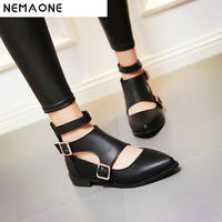 New Fashion ankle strap pointed toe women flats buckle woman flat shoes cut outs flats for ladies large size 34 43